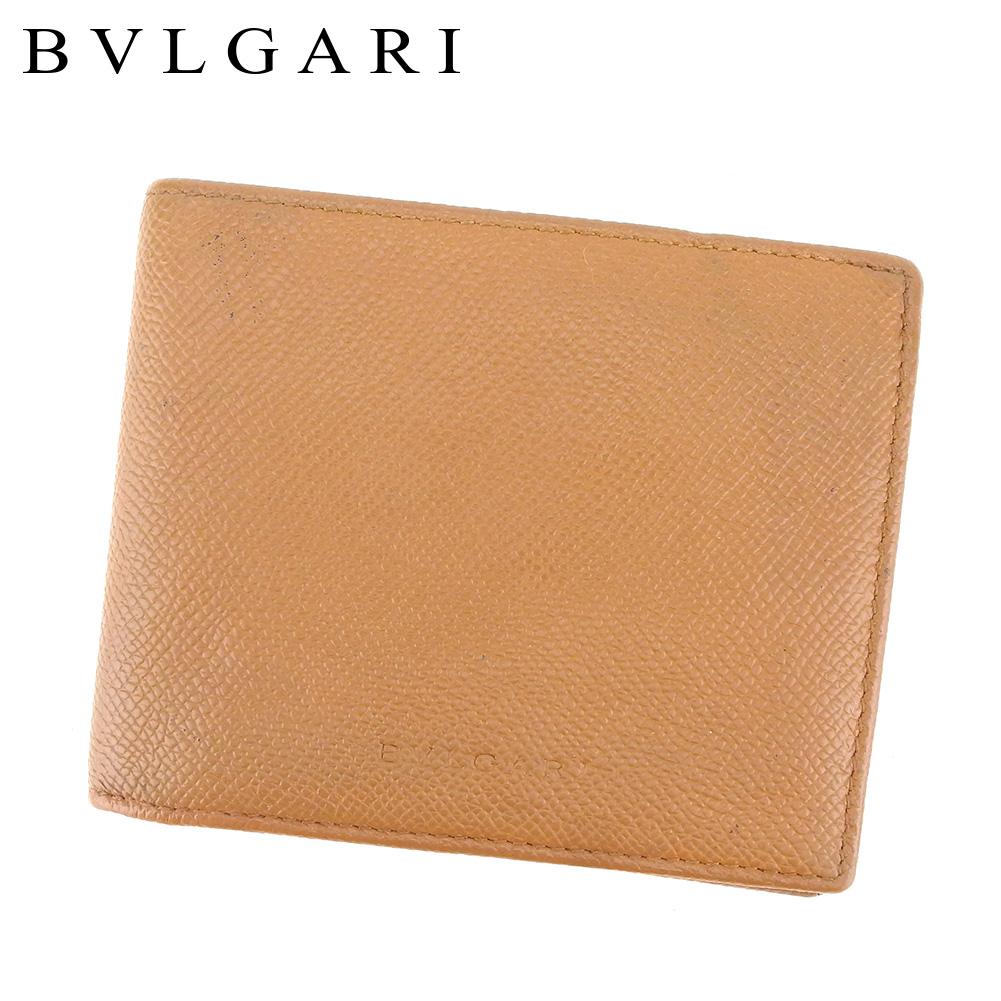 【中古】 ブルガリ BVLGARI 二つ折り 札入れ 二つ折り 財布 レディース メンズ ライトブラウン レザー T8581