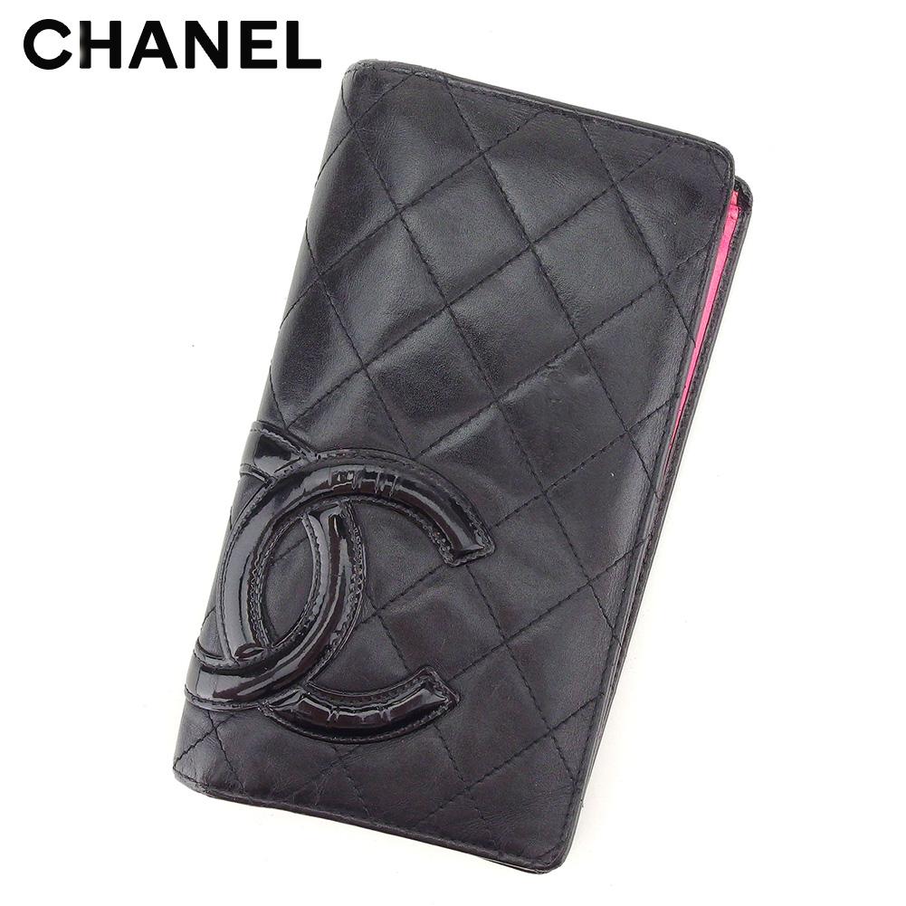 【中古】 シャネル 長財布 さいふ ファスナー付き 長財布 さいふ カンボンライン ブラック ピンク レザー CHANEL T8588