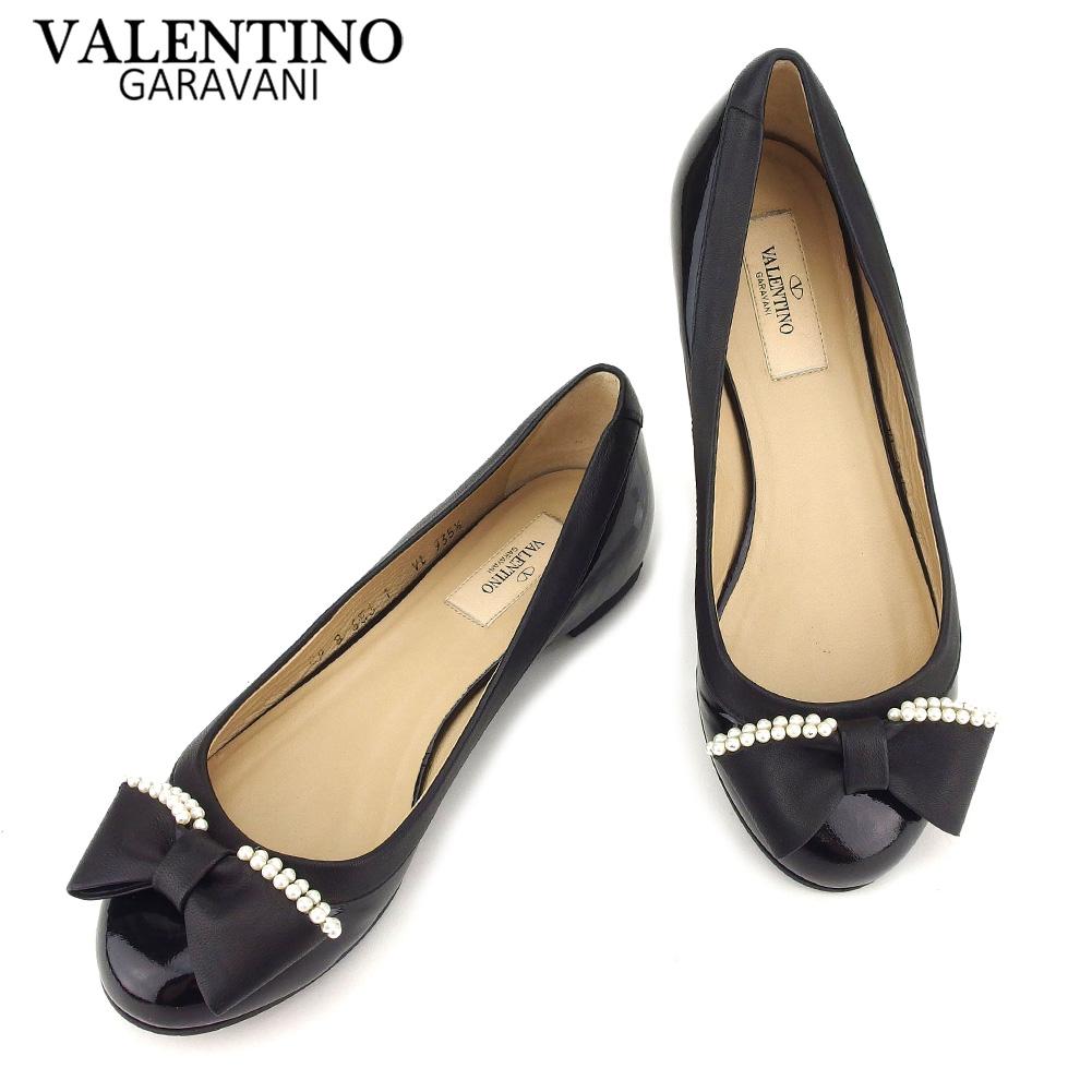 【中古】 ヴァレンティノ ガラバーニ VALENTINO GARAVANI パンプス シューズ 靴 レディース #35ハーフ ブラック エナメル×レザー T8591