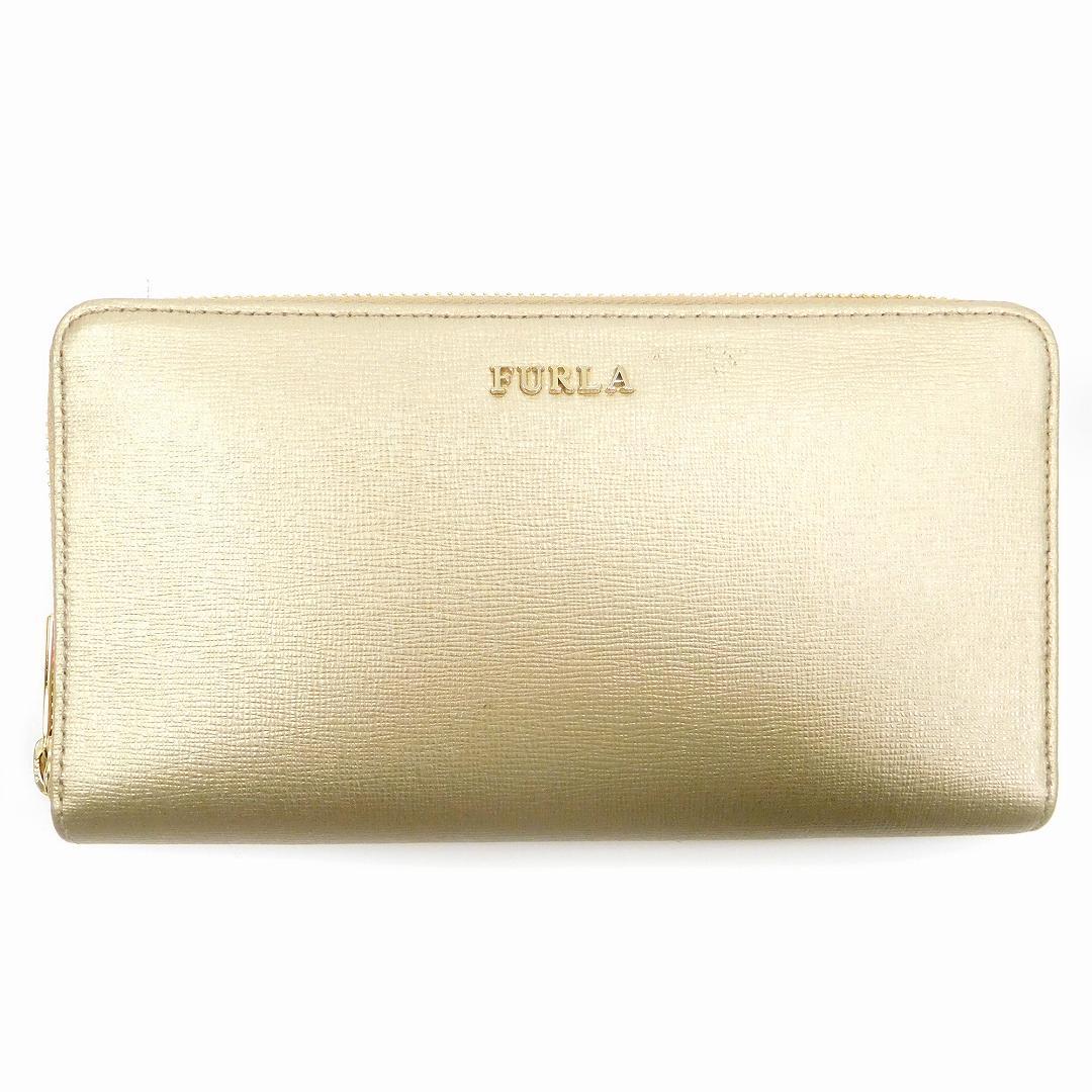 02b766f16c8b 【中古】 フルラ FURLA 長財布 ラウンドファスナー財布 レディース ゴールド U1662