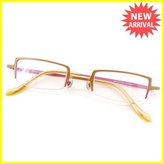 【中古】 エムツークオレ M2 CUORE メガネ フレーム 眼鏡 レディース スクエア型 ハーフリム ベージュ×ピンク系 プラスチック×チタン 中古 訳あり 【未使用】 T2281 .