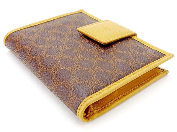 c23785cc6193 【中古】 セリーヌ Celine がま口財布 二つ折り 財布 メンズ可 マカダム ブラウン×ライトブラウン PVC×レザー 人気 良品 A1597 .- レディース財布