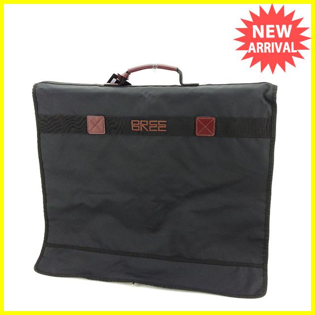 【中古】 ブリー BREE ガーメントカバー ガーメントバッグ メンズ ハンガー付き ロゴ ブラック×ブラウン ナイロンキャンバス×レザー 人気 L1583
