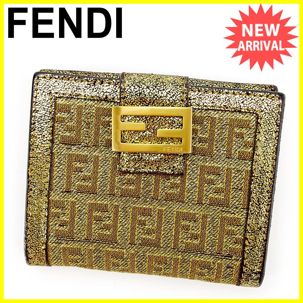 df5931240754 【中古】 フェンディ FENDI Wホック 財布 二つ折り レディース ズッキーノ ゴールド×ブラック キャンバス