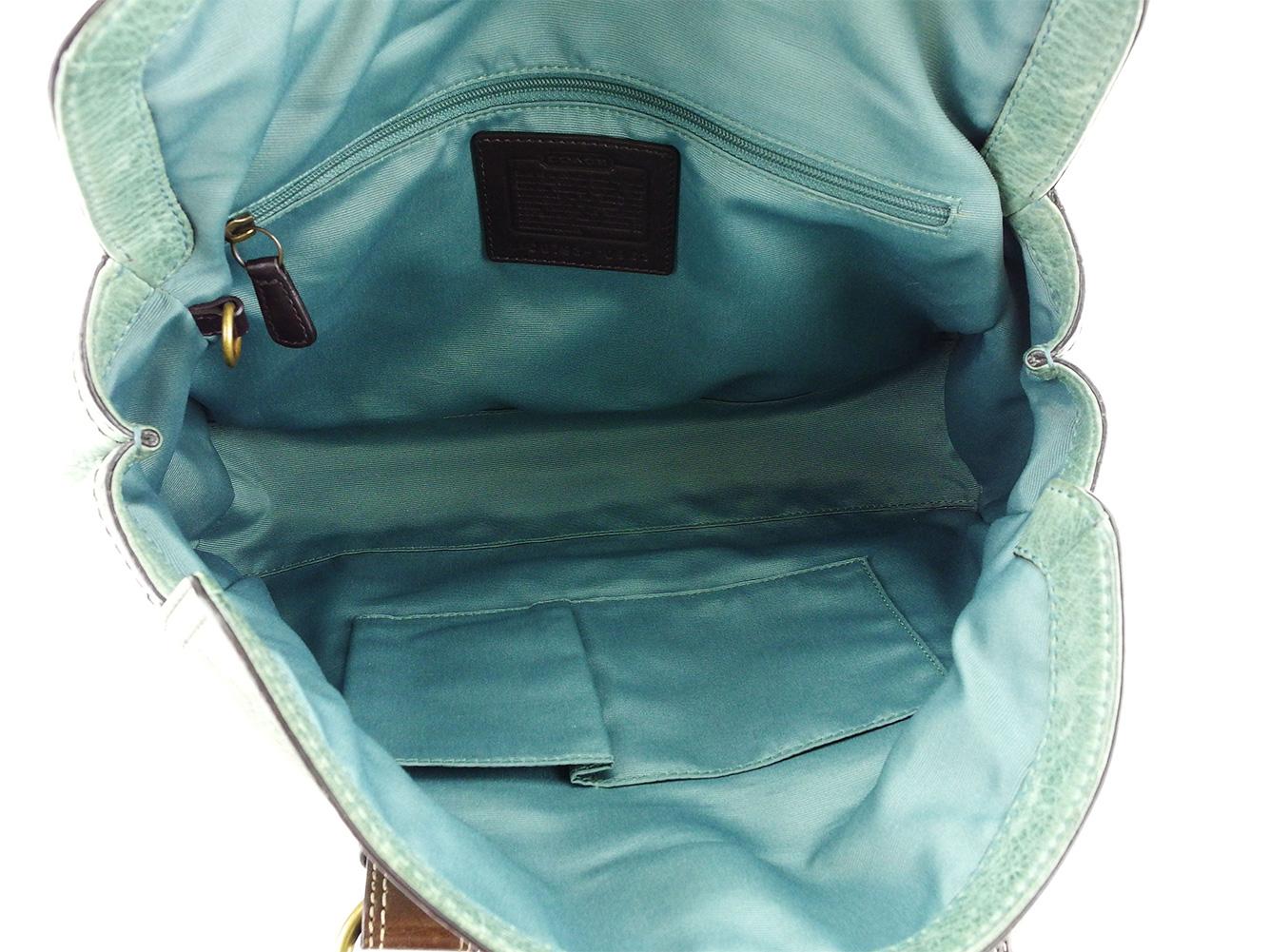 ファッションセール10 オフコーチ ハンドバッグ バッグ ターコイズブルー×ブラウン レザー COACH バック 手持ちバッグ ファッション ブランド ブランドバッグ 収納 人気 贈り物 迅速発送 在庫処分 男性 女性 良品 夏 1点物 A1672EDH9W2I