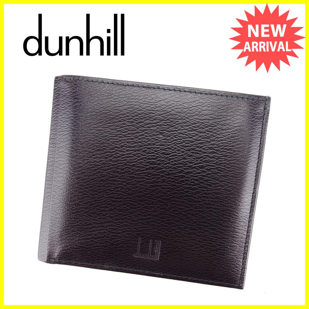 5352402c37f4 ダンヒル dunhill 二つ折り財布 財布 メンズ可 ブラック レザー 人気 良品 【中古】 T3316 . 超歓迎