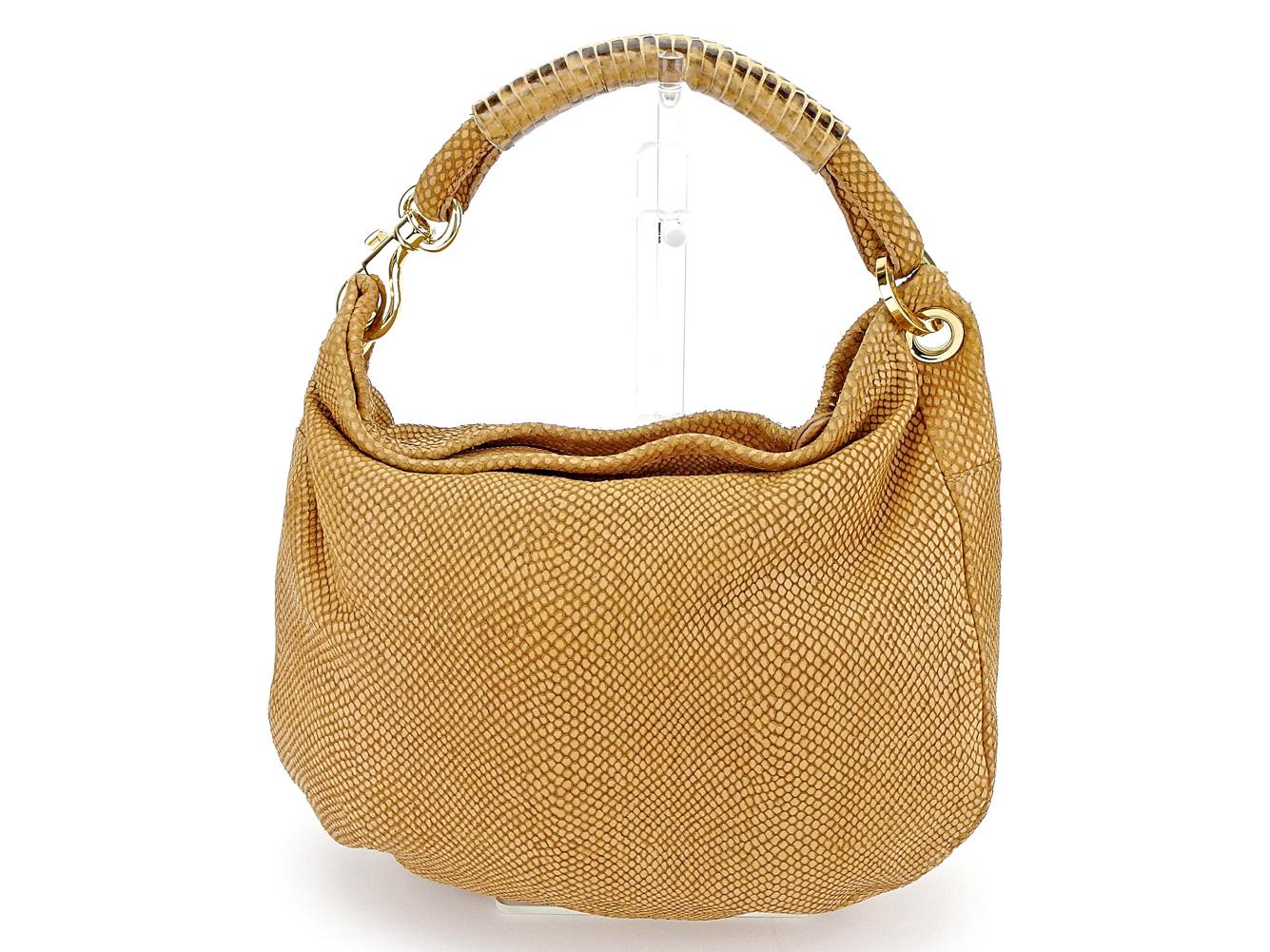 76a67a7f687 ジミーチュウ JIMMY CHOO handbag shoulder bag Lady's Ho baud python steering wheel  beige X gold system type push leather X python quality goods ...