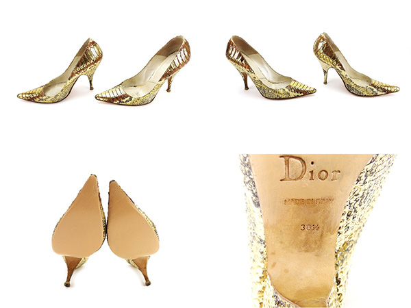 10f5dbb8c67 Dior Dior pumps shoes shoes Lady's ♯ 36 half pointed toe python beige X  black X gold system python leather popularity sale L1578