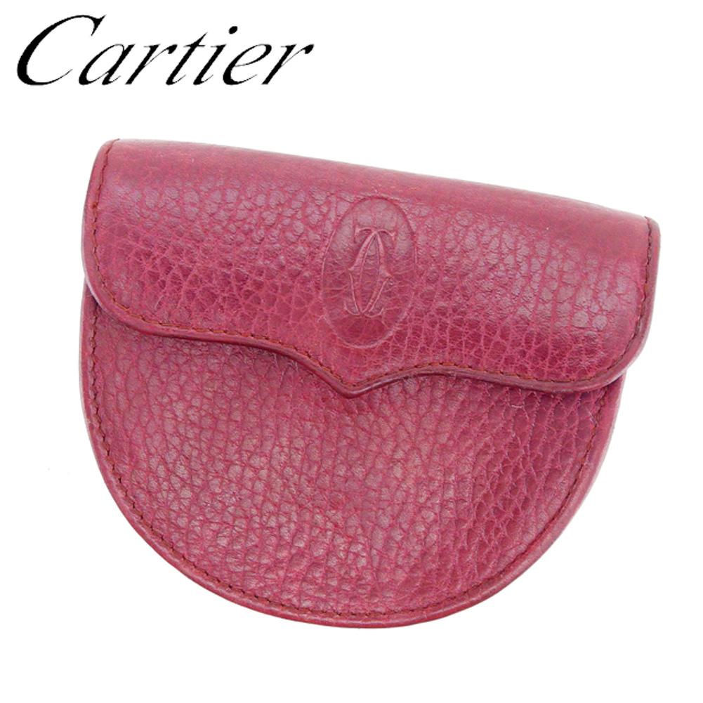 【中古】 カルティエ Cartier コインケース 小銭入れ レディース メンズ 可 マストライン ボルドー レザー 人気 良品 D1842 .