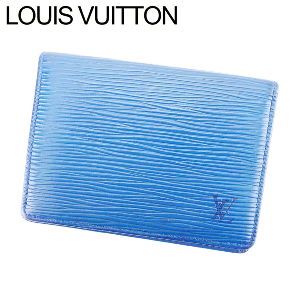 【中古】 ルイ ヴィトン LOUIS VUITTON キーケース パスケース レディース メンズ 可 ポルト2カルトヴェルティカル エピ ブルー エピレザ- 廃盤 人気 E1241 .