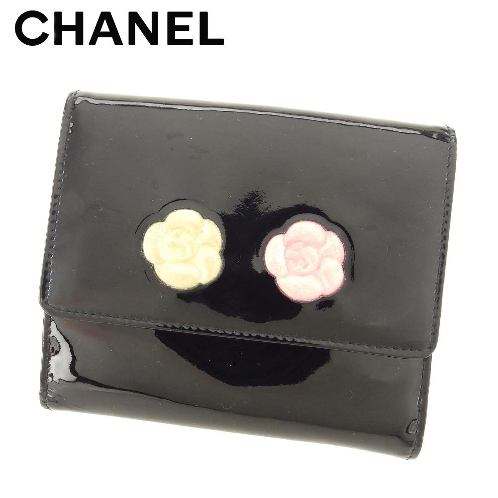 【中古】 シャネル CHANEL Wホック 財布 二つ折り 財布 レディース カメリア ブラック エナメルレザー 人気 セール E1245 .