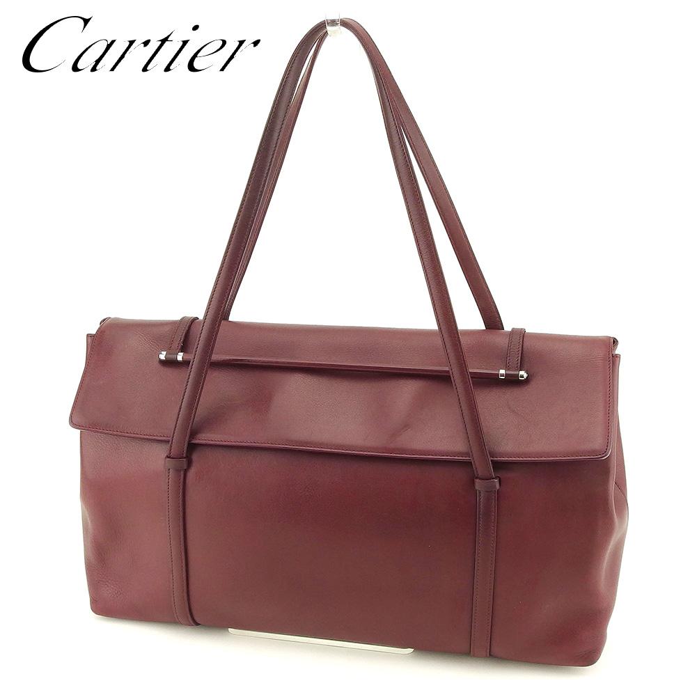 【中古】 カルティエ Cartier ショルダーバッグ ワンショルダー レディース メンズ 可  ボルドー レザー 人気 セール E1248