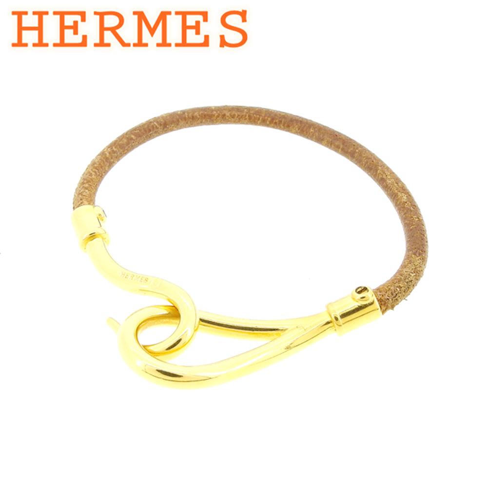 【中古】 エルメス HERMES ブレスレット アクセサリー レディース メンズ 可 ブラウン ゴールド レザー×ゴールド金具ブレスレット E1290s .
