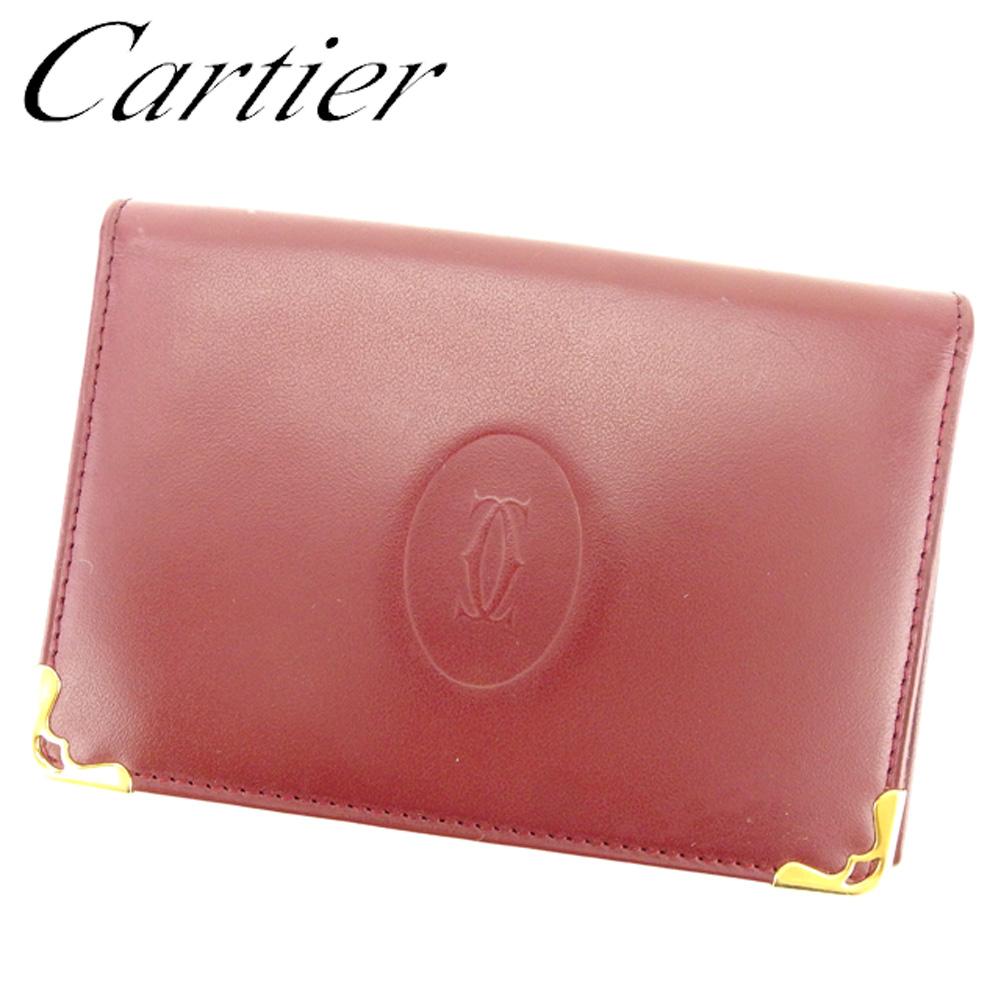 【中古】 カルティエ Cartier カードケース 名刺入れ パスケース レディース メンズ 可 マストライン ボルドー ゴールド レザー 人気 良品 F1320 .