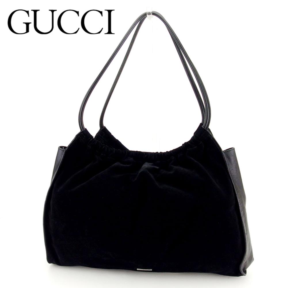 【中古】 グッチ Gucci トートバッグ バック トート トートバッグ バック ブラック シルバー ロゴプレート レディース メンズ 可 G1232s .