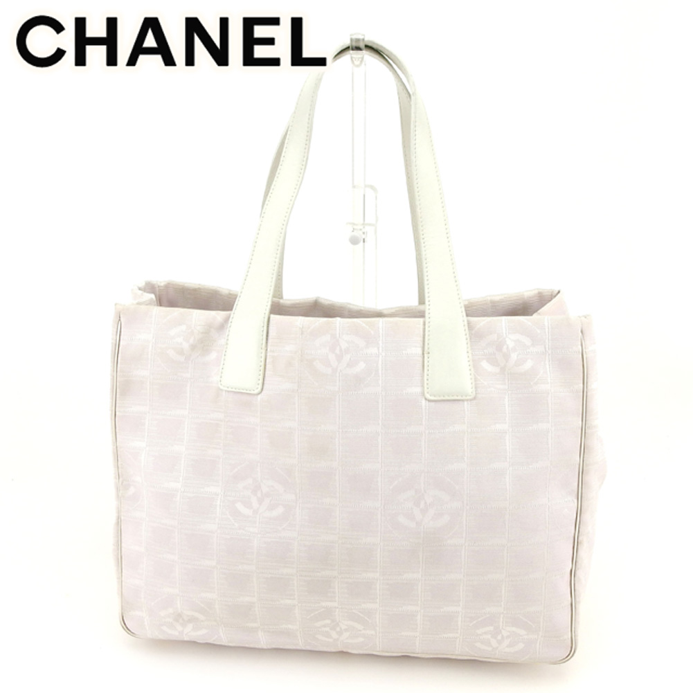 f8597182df36 Chanel CHANEL tote bag shoulder bag Lady s current style bell line purple  white gold nylon jacquard X leather tote bag G1240s.