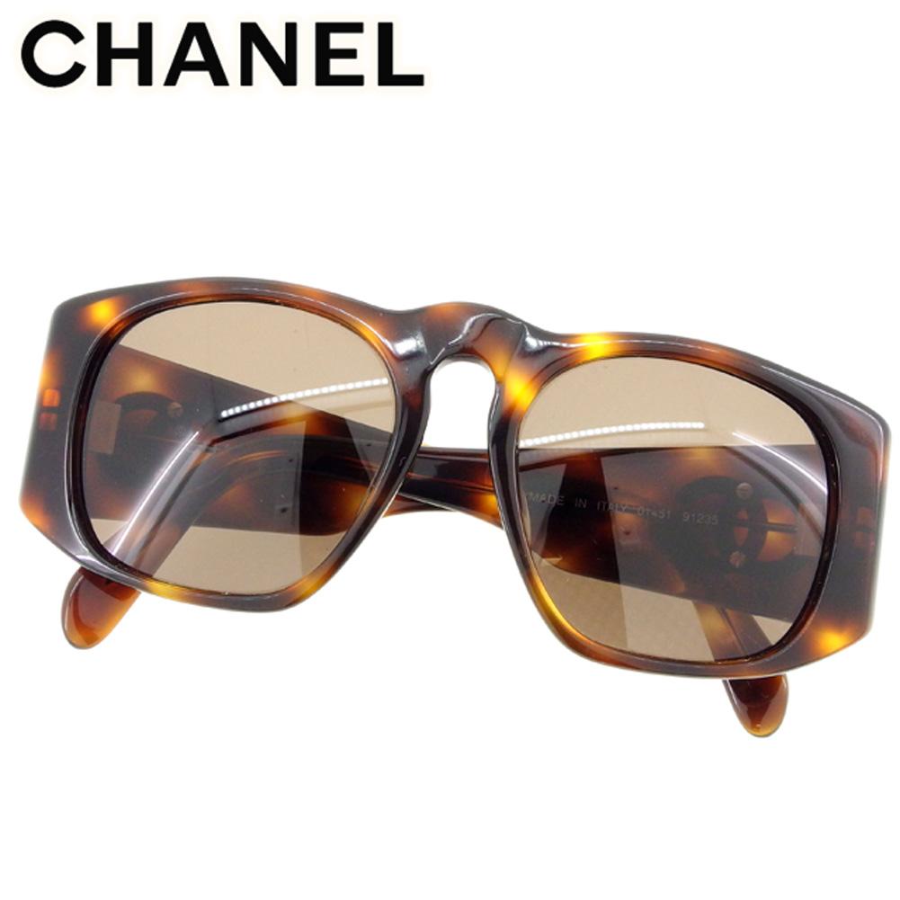 【中古】 シャネル Chanel サングラス メガネ アイウェア ブラウン ベージュ ゴールド フルリム ココマーク キッズ べっ甲柄 ガールズ ボーイズ可 P734s