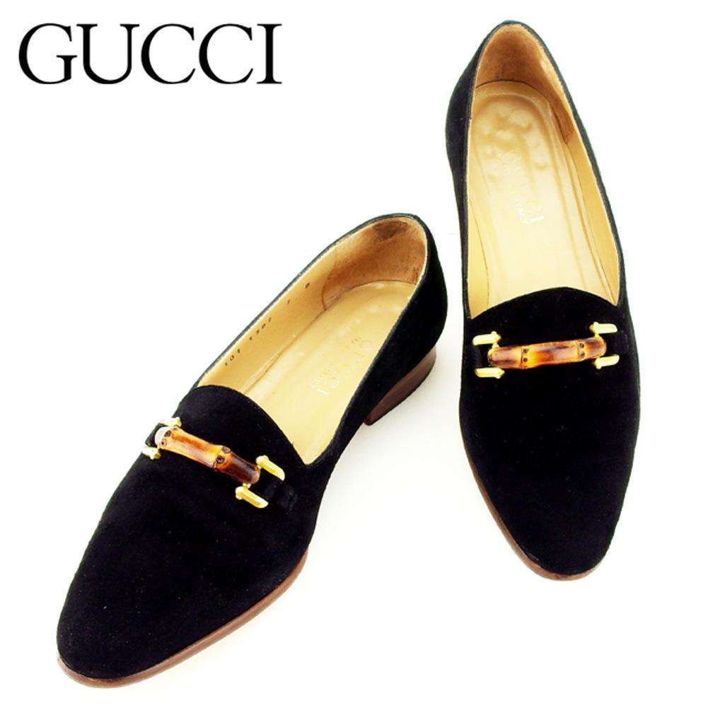【中古】 グッチ GUCCI パンプス シューズ 靴 レディース ♯7B バンブービット ブラック ブラウン ゴールド スエード 人気 セール P738 .