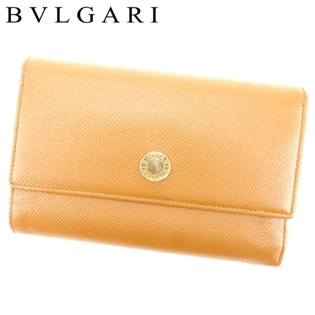 【中古】 ブルガリ BVLGARI 長財布 三つ折り 財布 レディース メンズ 可 ロゴボタン ライトブラウン ゴールド レザー 人気 セール P742