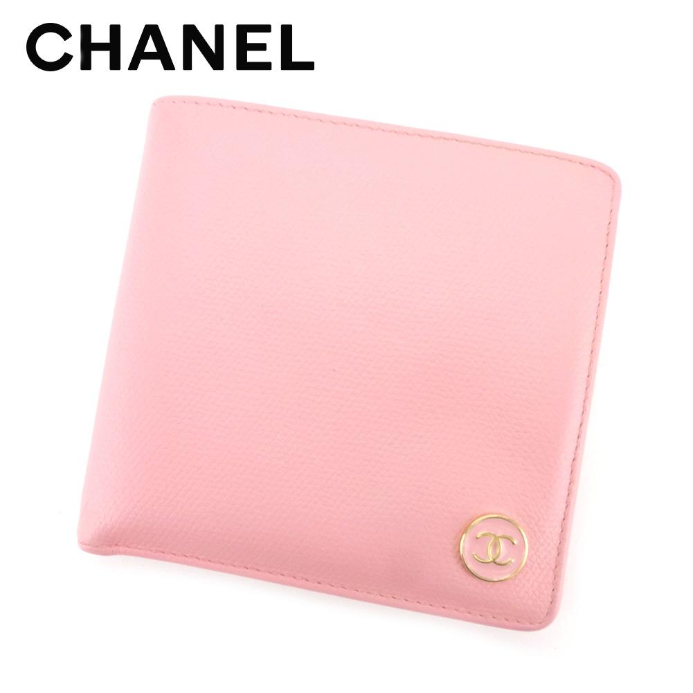 【中古】 シャネル CHANEL 二つ折り 財布 レディース ココボタン ピンク レザー ヴィンテージ 人気 Q404