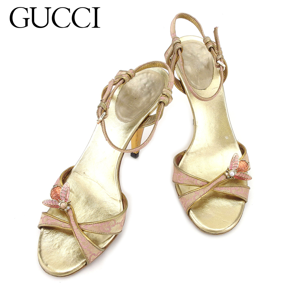 5fe056721d57 Gucci GUCCI sandals shoes shoes Lady s  36 GG pattern pink gold canvas X  leather popularity sale T3828