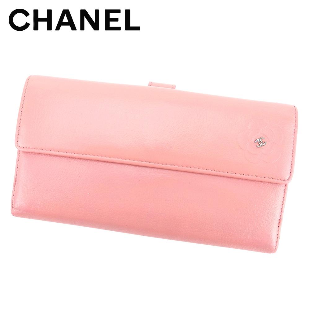 【中古】 シャネル CHANEL 長財布 Wホック レディース カメリア ピンク レザー 人気 セール T4699