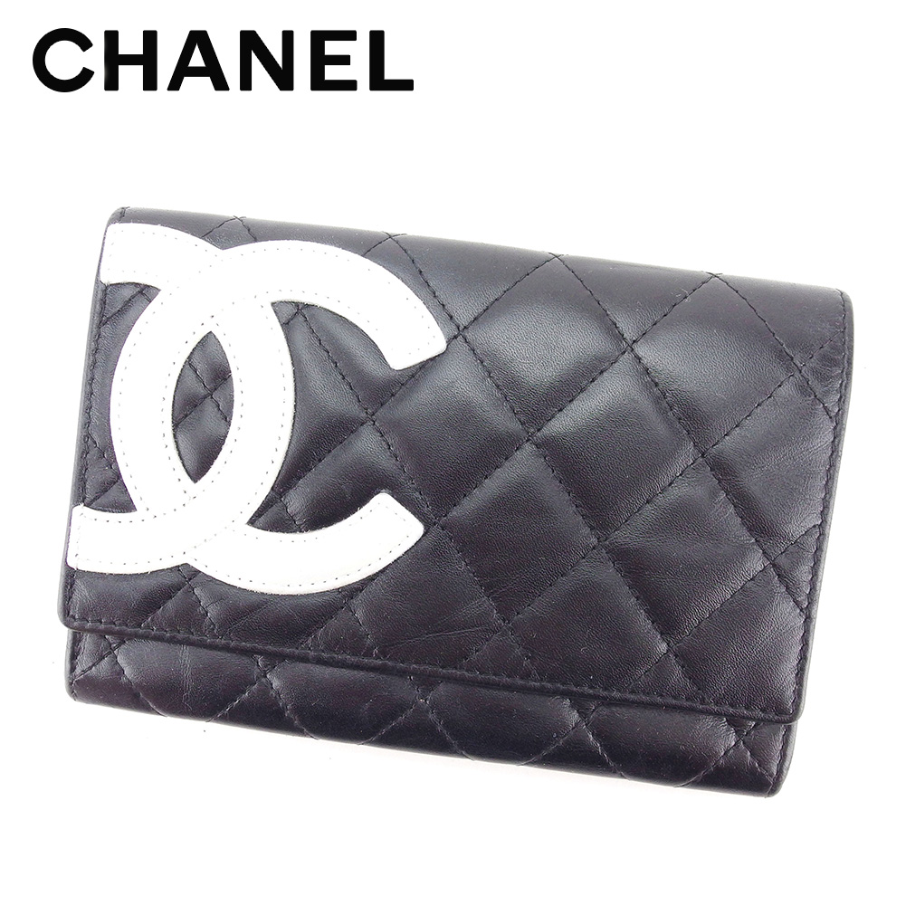 【中古】 シャネル CHANEL 二つ折り 財布 レディース カンボンライン ブラック ホワイト 白 ピンク レザー 人気 セール T5143