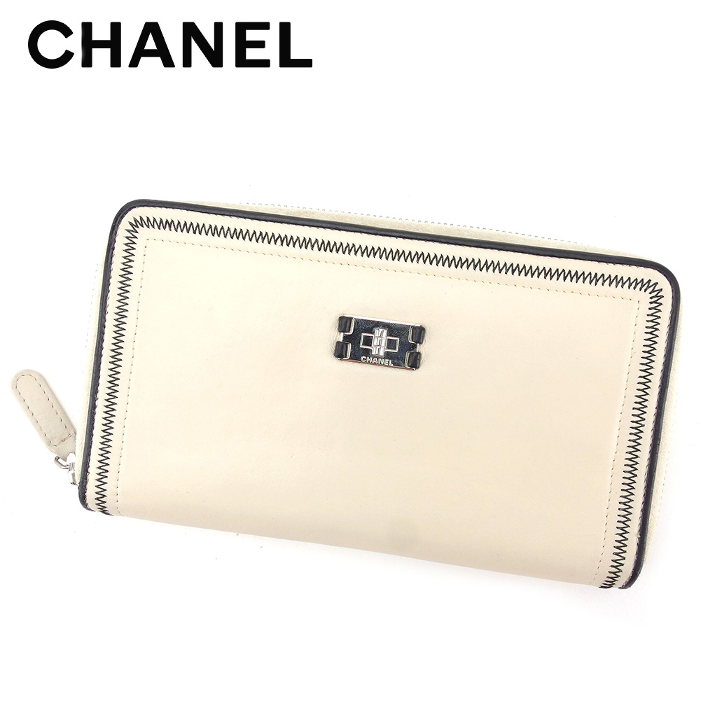 90ec6bbe715897 Chanel CHANEL long wallet round fastener lady's men's possible sports line  beige black leather popularity sale T5291.