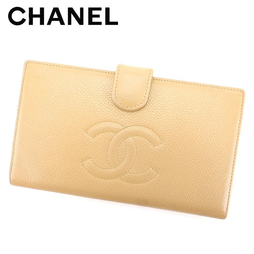 【中古】 シャネル Chanel がま口財布 財布 長財布 財布 ベージュ キャビアスキン レディース T5293s .
