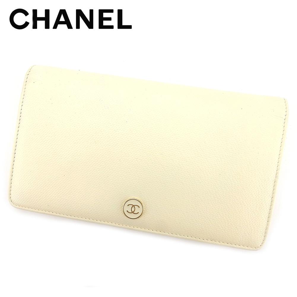 【中古】 シャネル Chanel 長財布 財布 ファスナー付き 長財布 財布 ホワイト 白 ベージュ ココボタン レディース T5706s .
