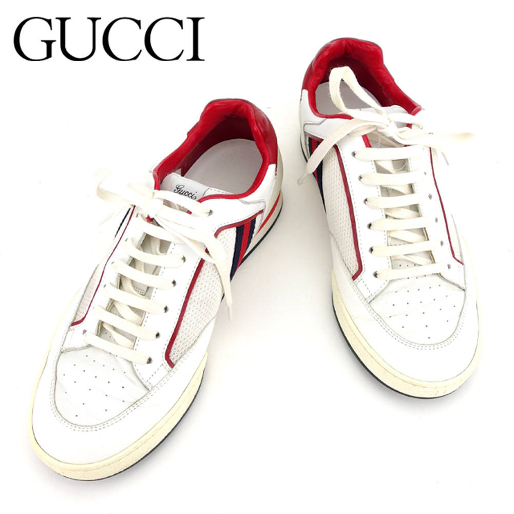 cbced82d272ed9 Gucci GUCCI sneakers  5 men sherry line white white red black leather  sneakers T7379s