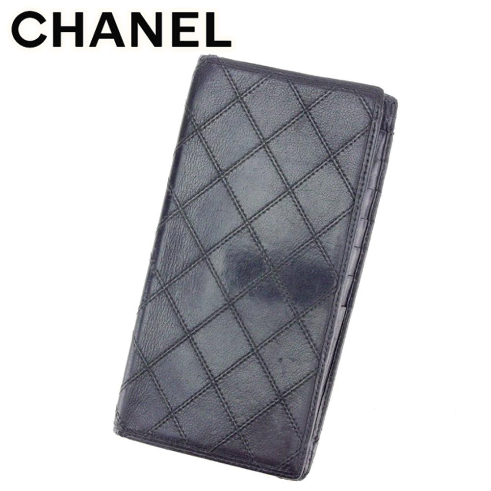【中古】 シャネル CHANEL 二つ折り 札入れ 長財布 メンズ可 ビコローレ ブラック レザー 人気 セール T7384 .