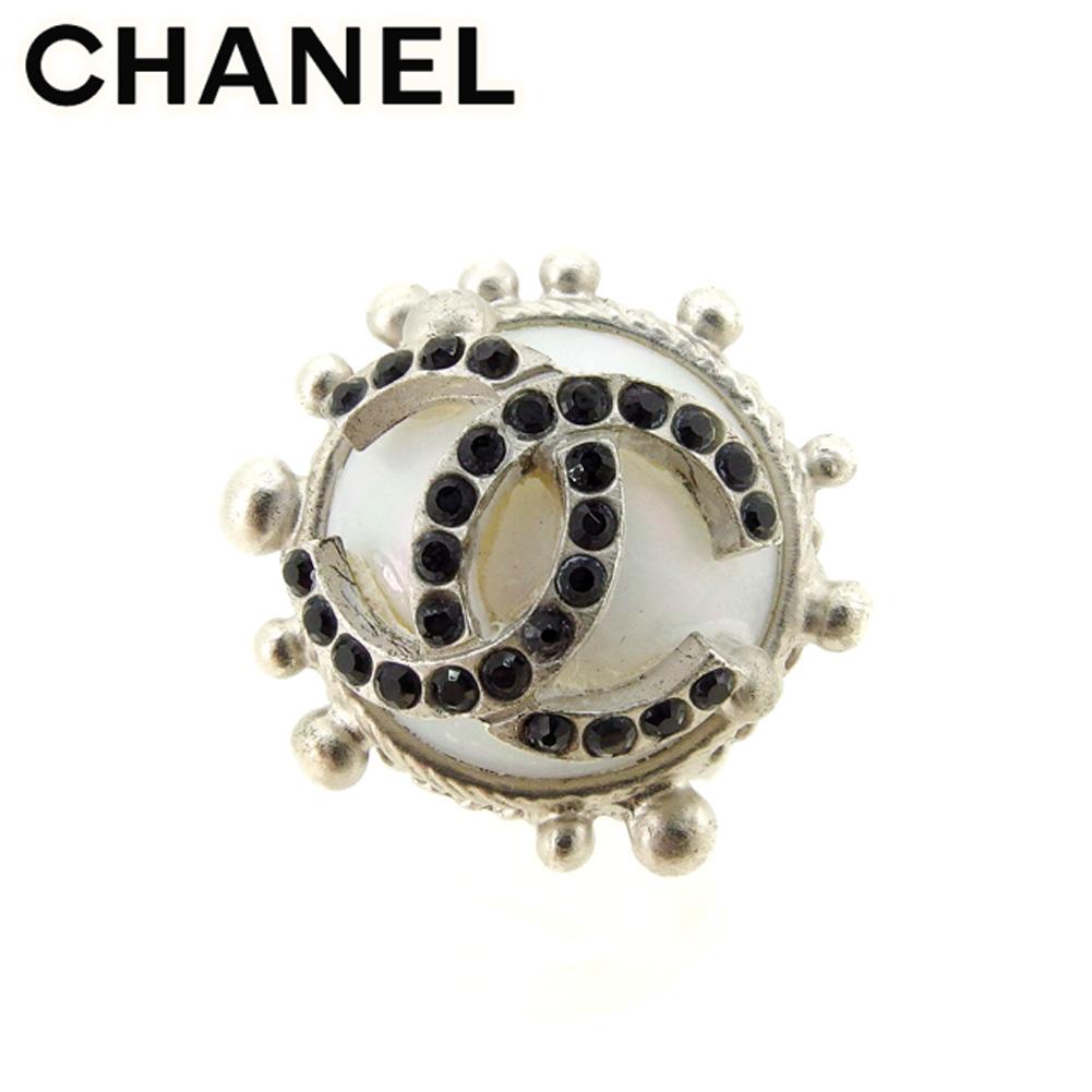 【中古】 シャネル CHANEL 指輪 #14 アクセサリー メンズ可 ココマーク シルバー ブラック ホワイト 白 人気 セール T7389