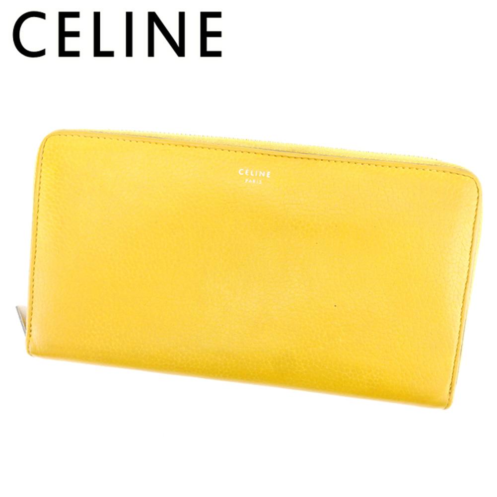 【中古】 セリーヌ CELINE ラウンドファスナー 財布 長財布 メンズ可  イエロー レザー 人気 セール T7392 .