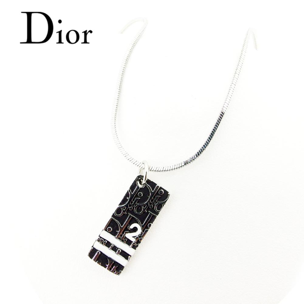 【中古】 ディオール Dior ネックレス アクセサリー メンズ可 トロッター シルバー 白ブラック ネックレス T7407s .