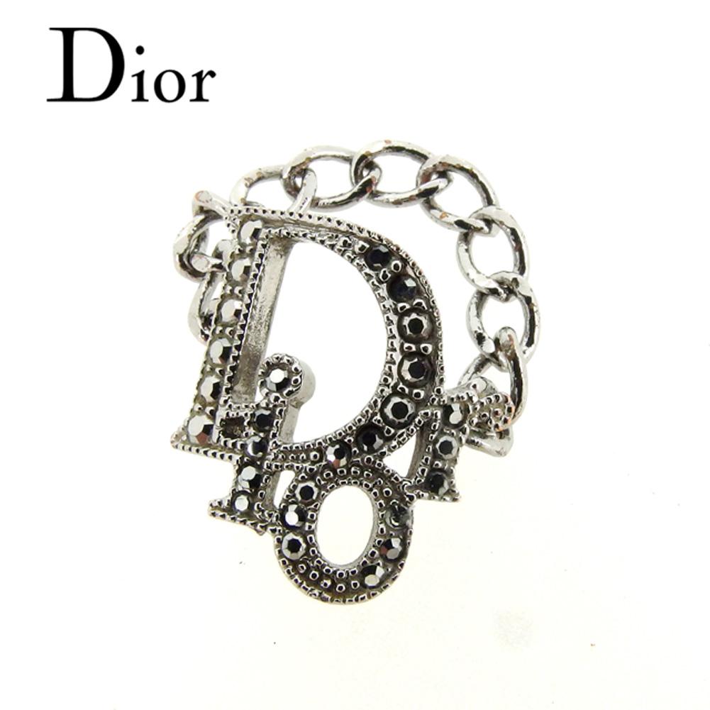 【中古】 ディオール Dior 指輪 チェーンリング #10 アクセサリー メンズ可  シルバー ラインストーン 人気 セール T7408 .