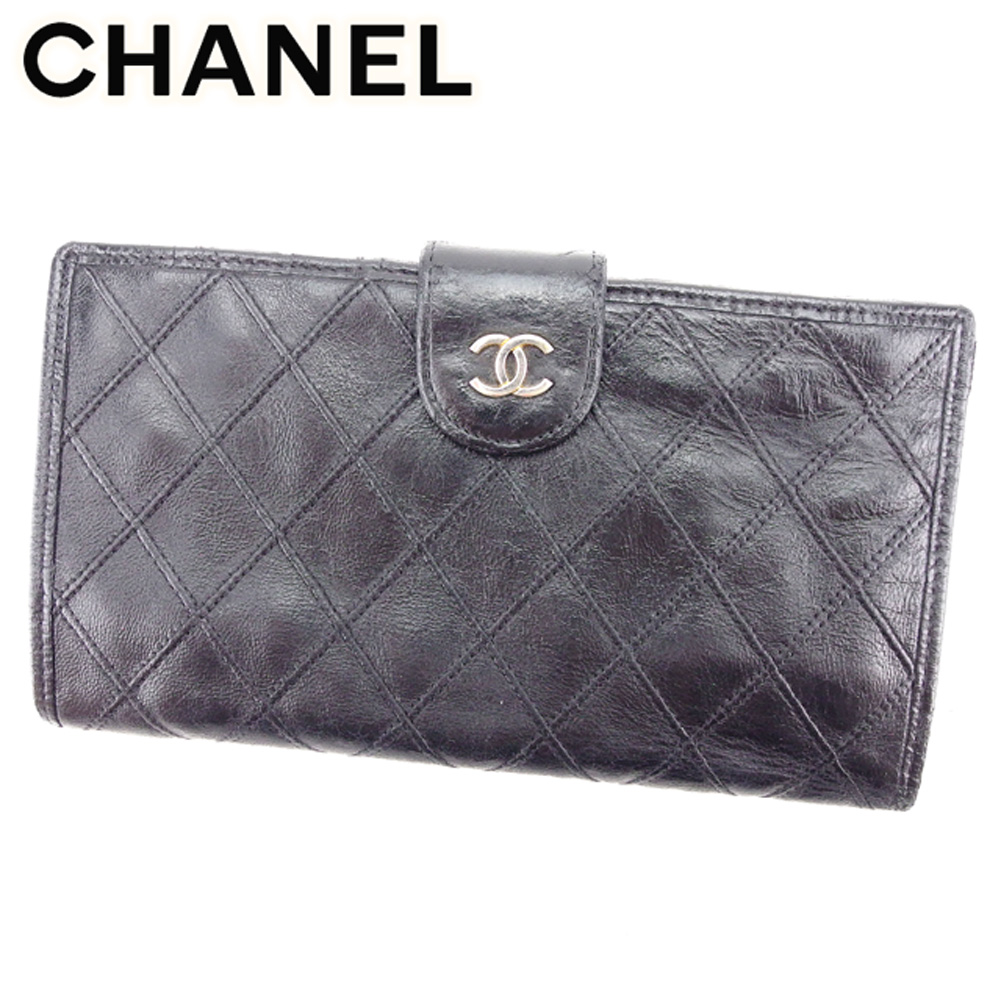 bb91fa7e07183c Chanel CHANEL pouch wallet long wallet lady's men's possible ビコローレブラックレザー  popularity sale T7508.