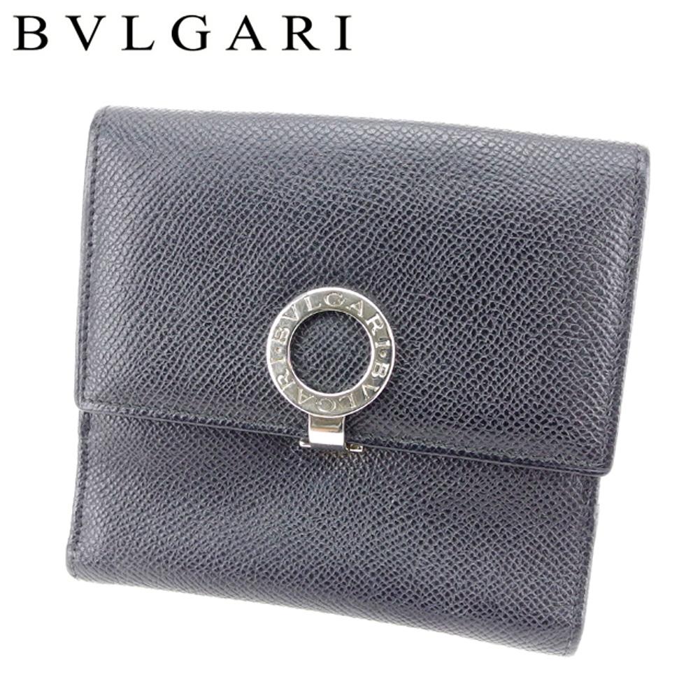 【中古】 ブルガリ BVLGARI Wホック 財布 二つ折り 財布 レディース メンズ 可 ブルガリブルガリ ブラック レザー 人気 セール T7512 .