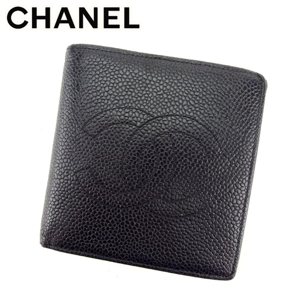 【中古】 シャネル CHANEL 二つ折り 財布 レディース メンズ 可 オールドシャネル ココマーク ブラック キャビアスキン ヴィンテージ 人気 T7519