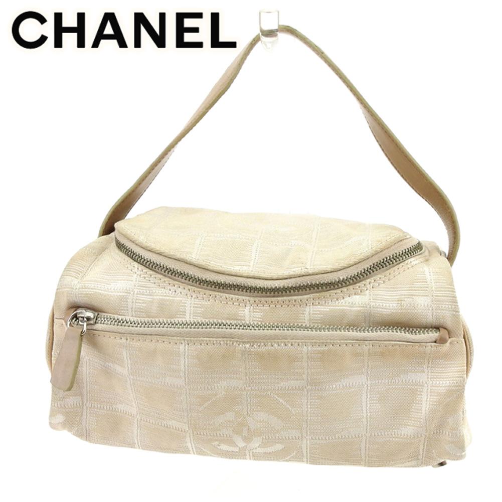 【中古】 シャネル Chanel バニティ 化粧ポーチ ハンドバッグ バック ベージュ シルバー オールドシャネル ニュートラベルライン レディース T7523s