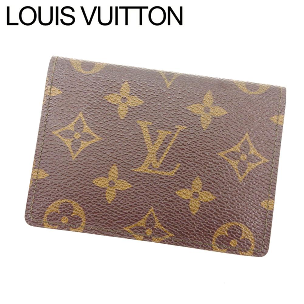 【中古】 ルイ ヴィトン Louis Vuitton 定期入れ パスケース メンズ可 ポルト2カルトヴェルティカル ブラウン ベージュ モノグラムキャンバス T7525 .