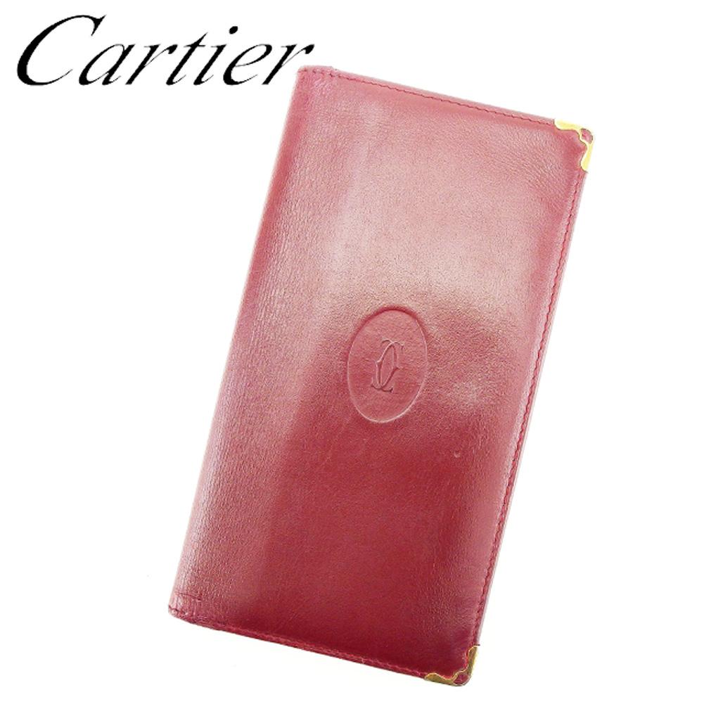 【中古】 カルティエ Cartier 長札入れ 長財布 さいふ レディース メンズ 可 ボルドー レザー T7534