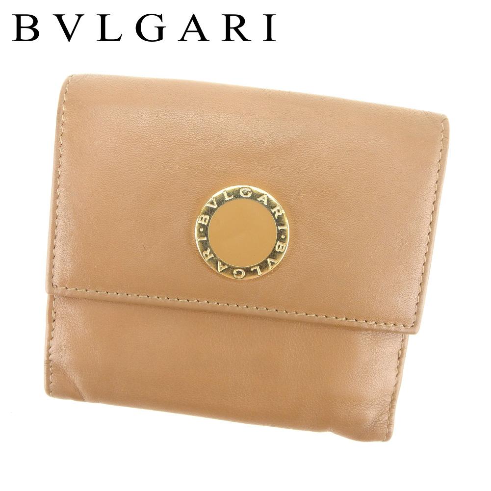 【中古】 ブルガリ BVLGARI Wホック 財布 二つ折り 財布 メンズ可 ブルガリブルガリ ブラウン レザー 人気 セール T7539