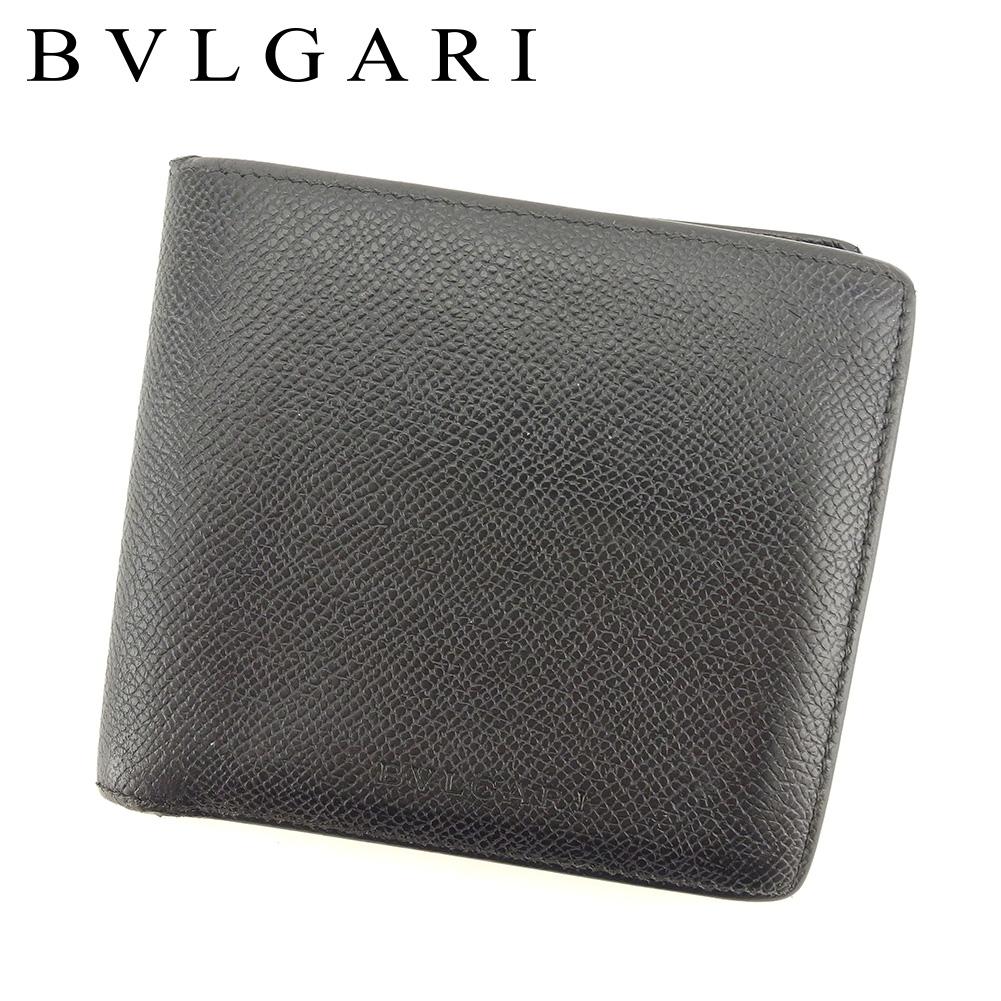 【中古】 ブルガリ BVLGARI 二つ折り 財布 レディース メンズ 可 ロゴ ブラック レザー 人気 セール T7540 .