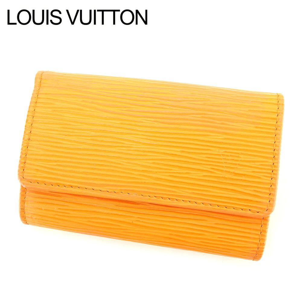 【中古】 ルイ ヴィトン LOUIS VUITTON キーケース /6連/三つ折り レディース メンズ 可 /ミュルティクレ6 エピ オレンジ エピレザ- 廃盤 人気 T7548 .