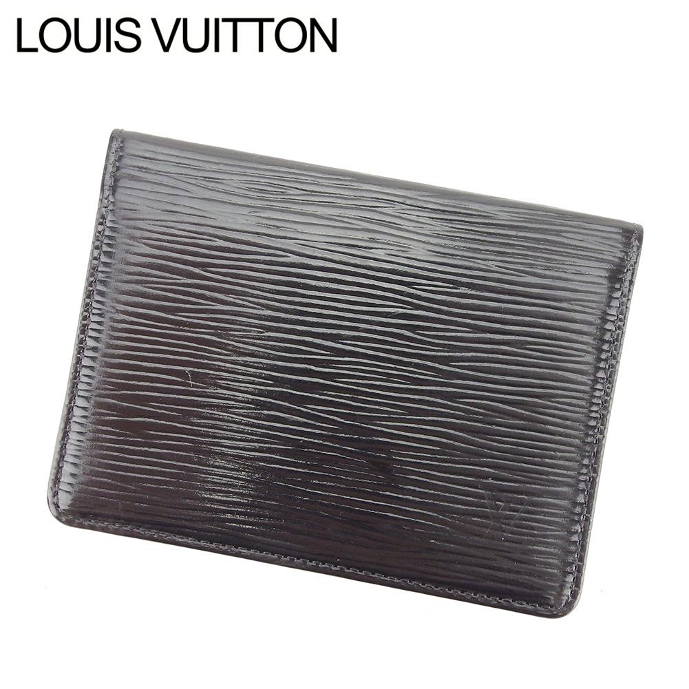 【中古】 ルイ ヴィトン LOUIS VUITTON 定期入れ パスケース レディース メンズ 可 ポルト 2カルト ヴェルティカル エピ ブラック PVC×レザ- 人気 セール T7568 .