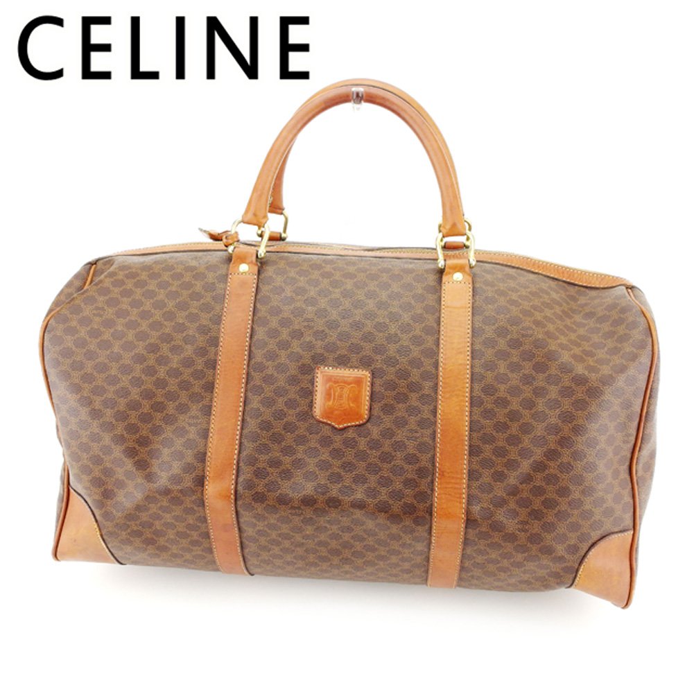 Sale T7578 which there is Celine CELINE Boston bag travel bag traveling bag  lady s men s possible macadam brown beige gold PVC X leather reason in d4d460b6f0