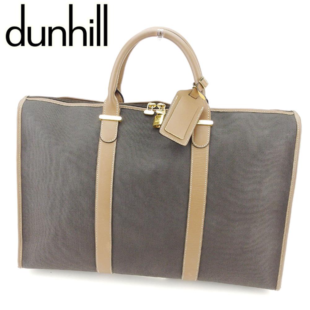 【中古】 ダンヒル dunhill ビジネスバッグ ボストンバッグ メンズ ヘリンボーン ブラック ブラウン ゴールド PVC×レザー 人気 良品 T7579 .