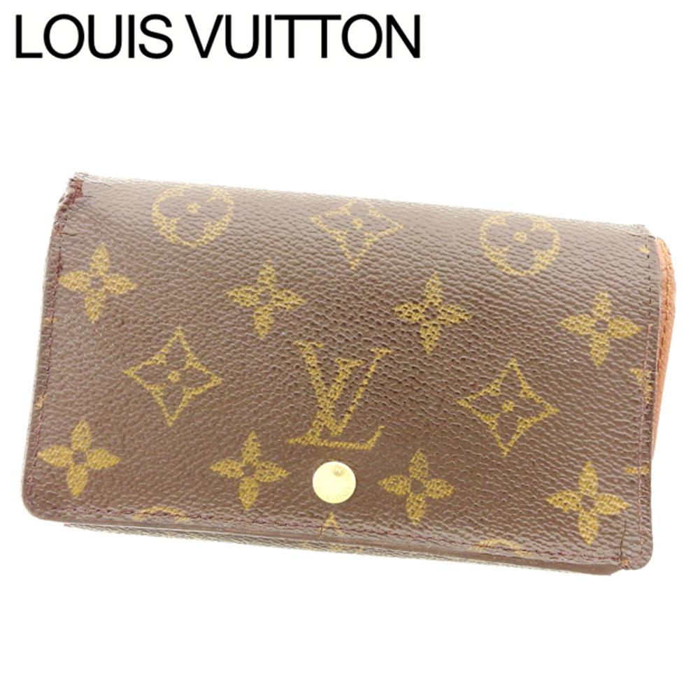 【中古】 ルイ ヴィトン Louis Vuitton L字ファスナー財布 二つ折り メンズ可 ポルトモネビエトレゾール モノグラム ブラウン ベージュ ゴールド モノグラムキャンバス 人気 セール T7585 .