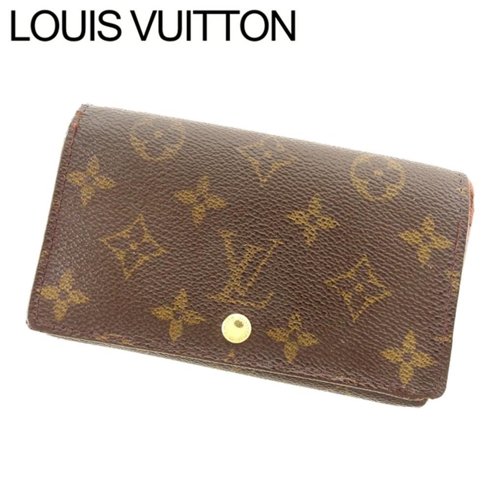 【中古】 ルイ ヴィトン Louis Vuitton L字ファスナー財布 二つ折り メンズ可 ポルトモネビエトレゾール モノグラム ブラウン ベージュ ゴールド モノグラムキャンバス 人気 セール T7588 .